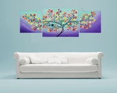 "Art painting Acrylic Painting Love Birds wall decor Landscape Painting Original Impasto Tree Painting Canvas art for sale ""Lavender Evening"""