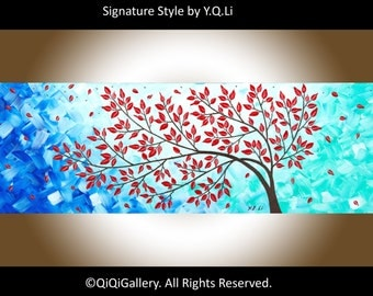 "Colorful art autumn Red Leave Tree painting acrylic Impasto Landscape Painting Canvas art home Office decor ""Fall Breeze"" by qiqigallery"