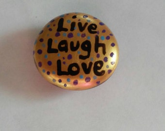 Hand painted large glass gem magnet  mini art Live Laugh Love