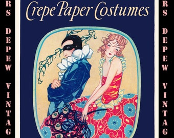 Vintage Craft Book How to Make Crepe Paper Costumes E-book How-to with 60 Different Costumes -INSTANT DOWNLOAD-