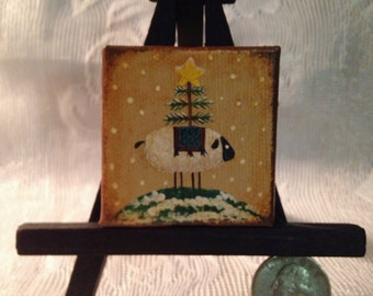 "Hand Painted Mini 2"" x 2"" Painting with Easel - Prim Sheep with Tree"