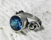London Blue Topaz Ring - Gemstone Alternative Engagement Ring - Swirl Deep Midnight Blue Sterling Silver Gem Jewelry - Ready to ship 7 and 8