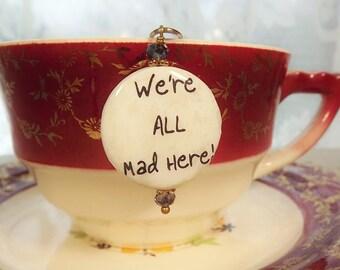 Alice in Wonderland, Teacup Charm,  Mesh Tea Ball, Tea Strainer
