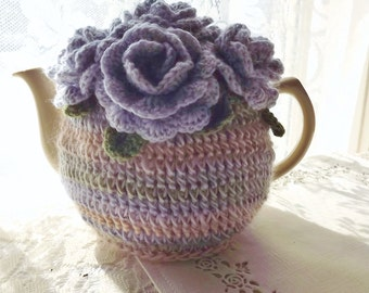 Lilac Rose Tea Cozy, 4 - 6 Cup Crochet Tea Cozy,