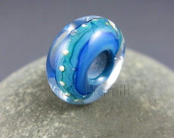 Lampwork bead, art glass bead, glass charm bead, lampwork charm bead, charm bracelet bead, lampwork art glass bead, blue glass bead