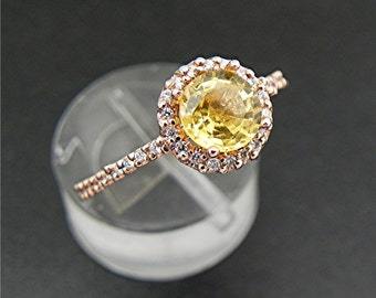 Yellow Sapphire 14K Rose gold Diamond Halo engagement ring set with 6mm Round Natural Sapphire  .98 carats 1162 MMM