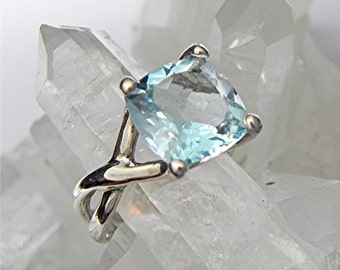 AAA Swiss Blue Topaz Square Cushion Cut   11x11mm  7.50 Carats   in 14K White gold Infinity engagement ring - ELKE- ring. m