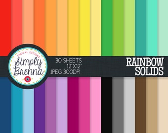Colorful Solid Digital Paper Pack - Rainbow Solids - Colorful Patterned Paper Sheets - Personal & Commercial Use INSTANT DOWNLOAD
