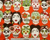 GOTAS de Amor Cantelope FRIDA Orange 100% Cotton Apparel Quilting Weight Fabric by Yard, Half-yard, or Fq Fat Quarter Day of the Dead Skulls