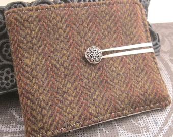 Moss Green Brown Herringbone Wool Tweed Needlebook