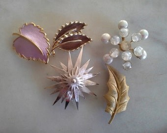 New Lower Price Vintage Collection of 5 Brooches Pins Signed Assemblage Statement