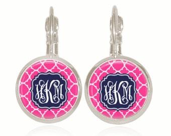 Monogram Earrings, Pink and Navy Earrings, Personalized Gift,  Preppy Earrings, (White On Navy On Pink Pattern - Drop Style Earrings)