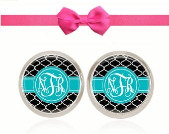 Monogram Earrings, Glass Dome Earrings, Initial Earrings, Blue & Black, Personalized Gift, Gift For Her (Turquoise and Black Pattern)