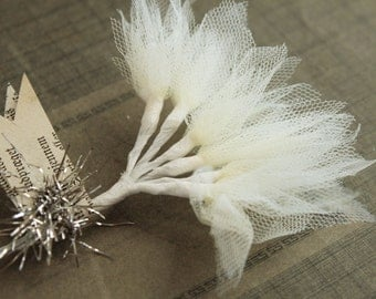 NEW! Cream Tulle Millinery Sprays -  Wired Off White Tulle Stems  - Wedding Corsage and Boutonniere Supply