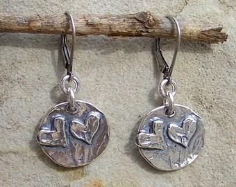Artisan Jewelry Double Heart Handcrafted Artisan Sterling Silver Earrings