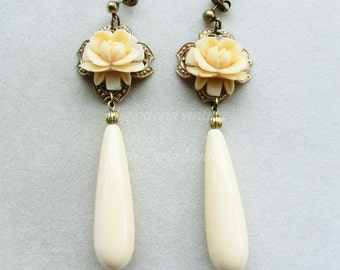 Victorian Cameo bride earrings with vintage celluloid roses and ivory color teardrops