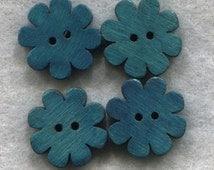 Flower Buttons Decorated Blossom Dark Aqua Wooden Buttons 18mm (3/4 inch) Set of 4 /BT253C