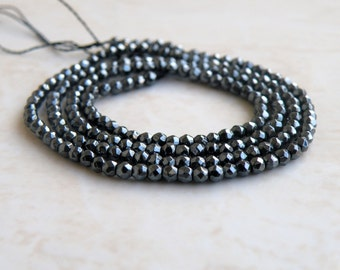 Gunmetal Faceted Round beads Center Drilled 2mm 190 beads Full Strand