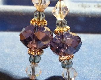 purple crystal dangling fishhook earrings