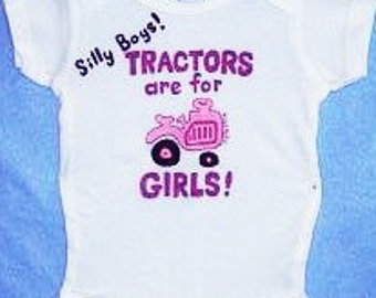 Baby Girl Tractor Bodysuit, Pink Tractor One Piece, Silly Boys Tractors Are For Girls, Country Baby, Farm Baby Girl