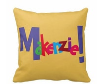 Custom crazy name 16 inch toss pillow personalized custom colors child's name teen kids adults