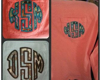Comfort colors appliqued monogrammed long sleeve pocket tee