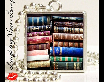 Library Jewelry - Book Jewelry - Library Necklace - Book Necklace - Vintage Book Pendant Style-G - Reading Jewelry - Literary Necklace