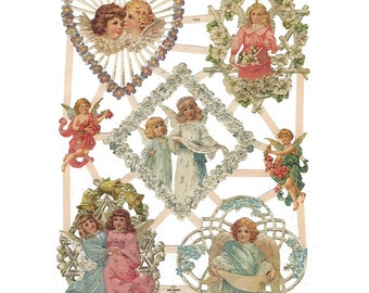 Glittered Christmas Angels Scraps Made In Germany Die Cut Victorian  G7353G