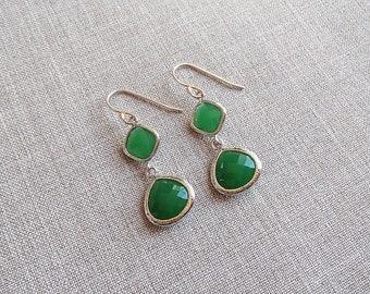 Emerald Green Pendant Earrings