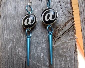 At Symbol and Aqua Blue Spike Earrings
