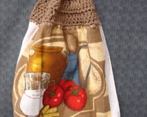 Crocheted Kitchen Towel with Comfort Foods