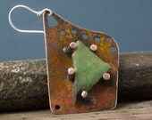 SINGLE Asymmetrical Stone Set Earring with Torch Fired Enamels from Earring A Day Challenge 2015