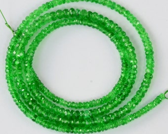 """Emerald Green Tsavorite Garnet Faceted Rondelle Beads 17.8"""" Strand"""