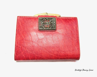 Vintage Red Leather Wallet, Buxton Valencia