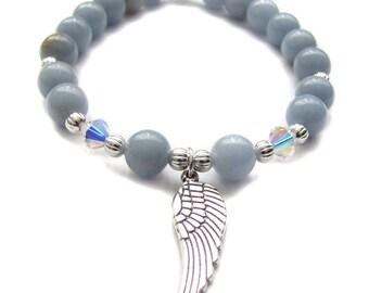 Angelite Gemstone Angel Wing Charm Elastic Stretch Beaded Bracelet, Angel Wing Jewelry, Stacking Stackable Stone Bracelets Jewelry