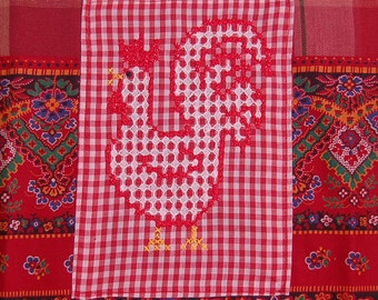 rooster tea towel recycled vintage chicken folksy embroidery
