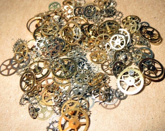 100 GEARS ONLY 1/8-1/4 Inch Sm-Med Watch STEAMPUNK Wheels Cogs Parts Pieces