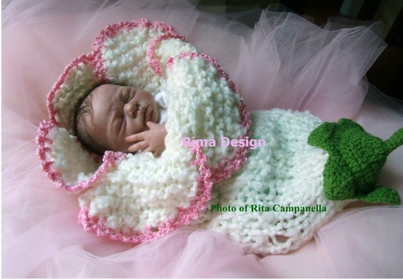 Original design new style newborn baby girl boy unigender bell lily flower cocoon white  pink photography props made with love in Canada