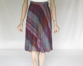 Vintage 70s Plaid Pleated Skirt