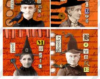 Halloween Coasters Collage Sheet 4X4 inch Halloween images (Sheet no. O231) Instant Download