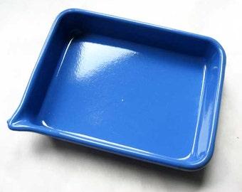 Vintage 1950 Cobalt Blue Enamel Ware Pan w Side Pour Spout, Industrial, Kitchen, Large Size, New Condition