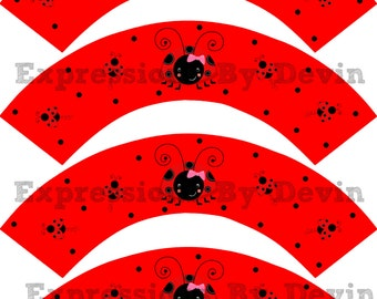 DIY Printable Instant Download Little LadybugThemed  Cupcake wrappers