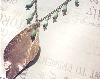 Copper Necklace Handmade Leaf from Recycled Copper and Green Beads, EcoFriendly Jewelry