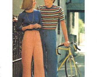 1970s Pants Pattern Vintage Butterick Tie On Drawstring Uncut Women's Misses Waist 26 . 5 Hip 36 Inches