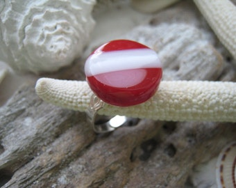 Adjustable SCUBA Dive Flag RING ~ Fused Glass