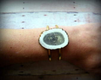 ANTLER SOLO - Deer Antler Slice on raw brass adjustable double-banded cuff. Antler Cuff  Native Vogue  Natural Glam