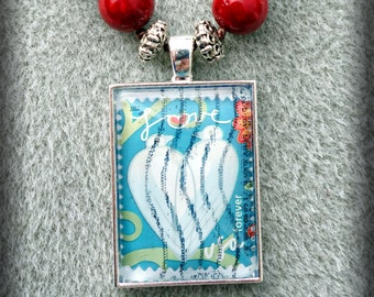 Beaded USA Love Postage Stamp Pendant Necklace (One of a Kind!)