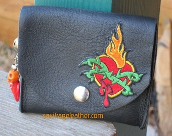 Flaming Bleeding Heart Leather Belt Bag