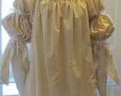 DDNJ Muslin Cotton 2 tier Split Bell Chemise Renaissance Gypsy Pirate Wench Costume Plus Custom Made Any Size SCA Anime Costume Lolita LARP