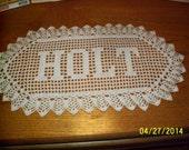 Filet Crochet Name Doily 4 letters Letter Style C custom made to order